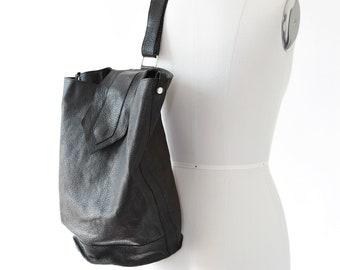 Vintage Black leather single strap backpack