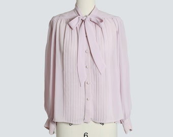 Lilac bow blouse | Vintage 70s ascot bow semi sheer blouse | 1970s Dalani II purple blouse