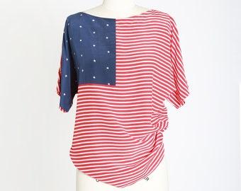 American Flag silk blouse | Vintage 90s Adrianna Papell blouse |  Silk American flag red white & blue blouse
