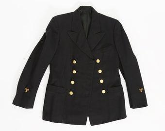 Vintage 40s WWII US Navy dress blues uniform jacket | 1940s Battleship Max Engineer machinist mate