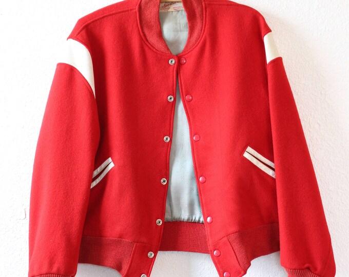 40s letterman jacket | Vintage 40s Red Letterman jacket t| white leather wool Varsity coat jacket