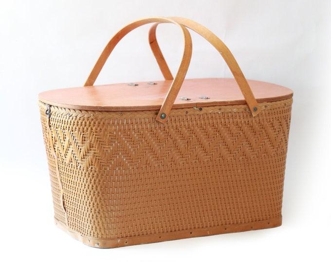 50s picnic basket | Vintage red man woven basket