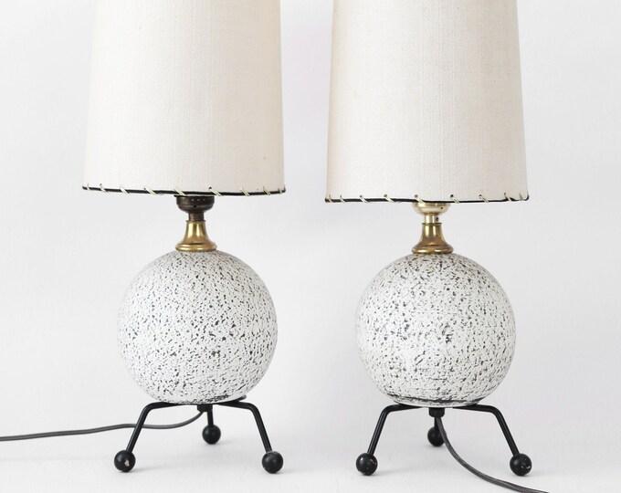 Vintage Mid Century Modern Frederic Weinberg atomic sphere ceramic lamps