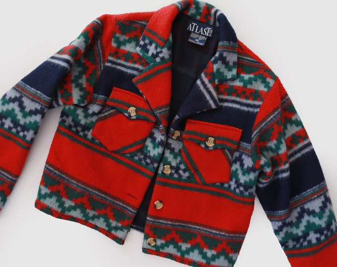Atlast Co. southwestern coat | Vintage Southwestern Indian wool Blanket coat | Cropped Navajo blanket coat