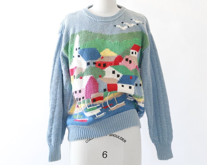 Seascape knit sweater | Vintage 90s colorful city ramie cotton knit sweater