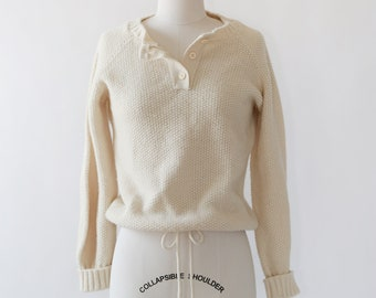 Pandora knit sweater | Vintage 70s ivory knit wool sweater | draw string sweater