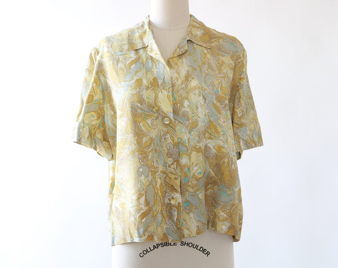 50s Marbled Blouse | Vintage 1950s cropped blouse M