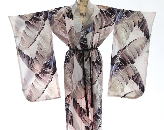 Antique tropical linen Japanese KIMONO | wedding coat Jacket Robe | tropical palm leaf kimono