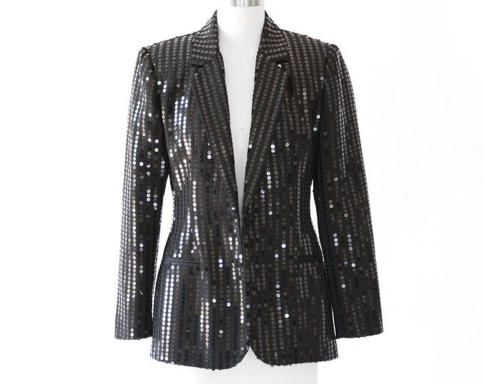 Tuxedo sequin blazer   Vintage 90s Cache sequin black blazer   Sequin blazer