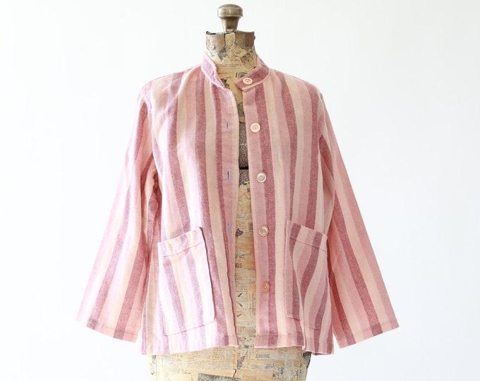 Pastel striped coat | Vintage 60s pink cotton cropped coat