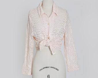90s pink floral lace top