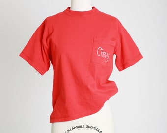 Chevy pocket tee | Vintage 80s hand panted Chevrolet cropped T-shirt | 80s Chevy tee