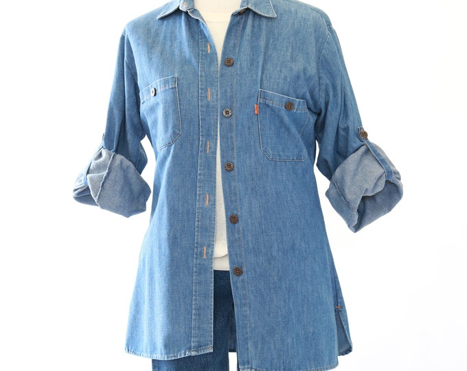 Levis denim shirt | Vintage 70s Levis orange tab blouse