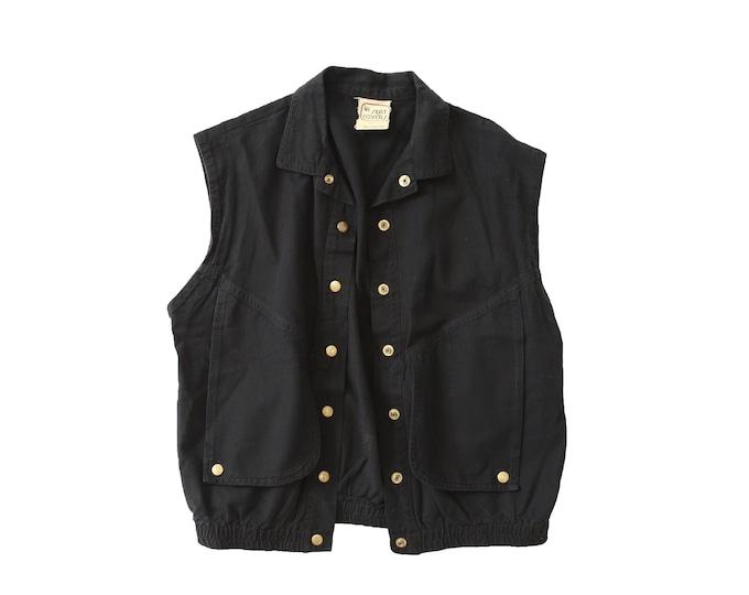 LA cropped vest | Vintage 80s black crop vest | cotton vest
