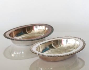 Antique Wilcox Silver Plate pair of bowls veggie plater