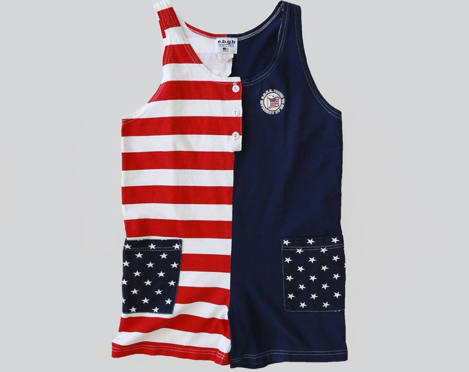 American flag Romper   Vintage 80s Flag romper   cotton playsuit shorts