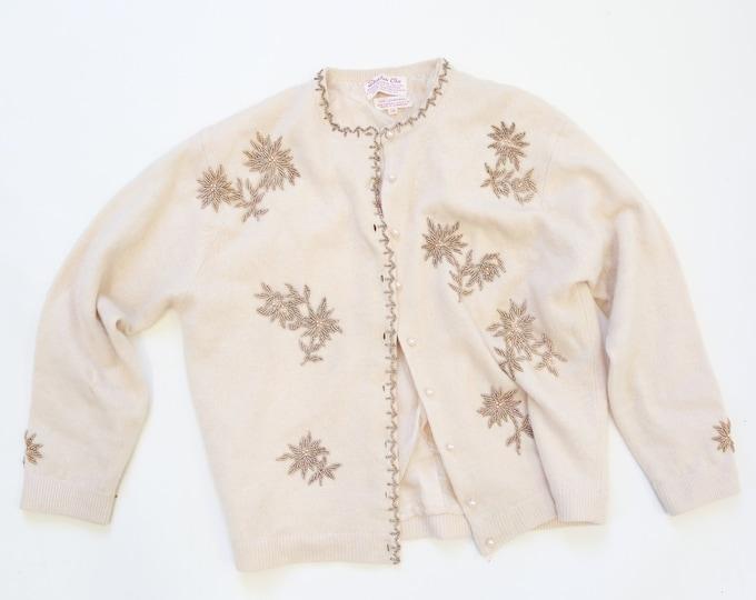 Stephen Chu cardigan | Vintage 50s lambswool angora floral beaded cardigan M