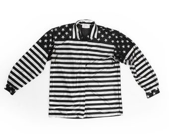 American Flag blouse | Vintage 80s Metallic Silver American Flag blouse