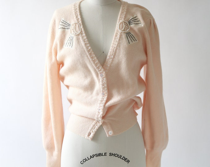 Blush pink angora knit sweater | Vintage 90s lambswool knit beaded pearl cardigan