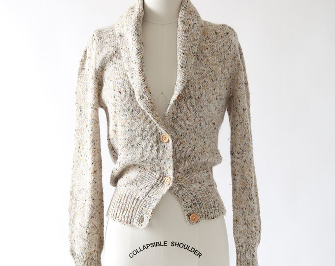Speckled knit cardigan | Vintage 80s knit cardigan S