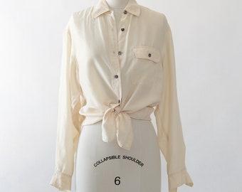Tie Waist silk blouse | cream silk shirt | ivory silk blouse