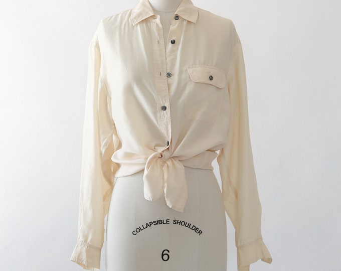 Tie Waist silk blouse | cream silk shirt | ivory silk blouse
