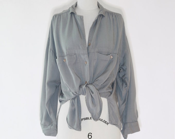 Vintage 90s gray tie blouse