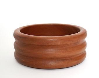 Vintage Mid Century Modern turned teak wood bowl | Teak Fruit Salad Bowl