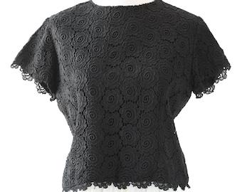 Dermore of Mayfair crop top | Vintage 60s black crochet top | MOD crop top