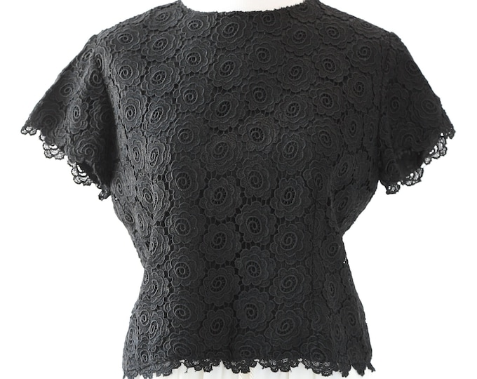 Dermore of Mayfair crop top | Vintage 60s black crochet top | MOD crop top