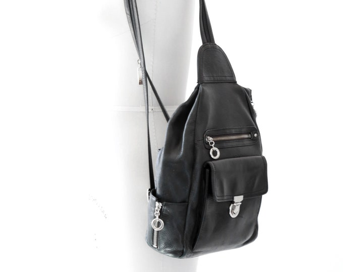 Vintage Black leather mini backpack | Vintage 90s Franklin leather backpack
