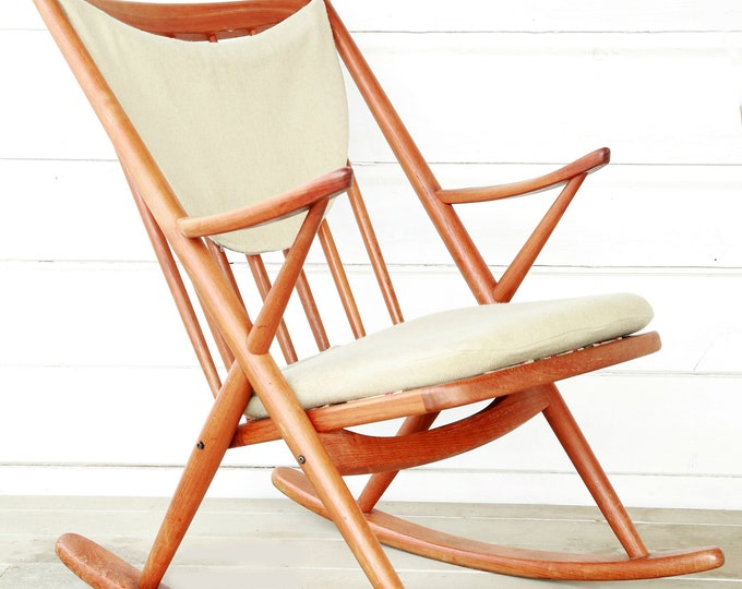 Vintage Mid Century Modern Danish Frank Reenskaug Bramin Teak Rocking Chair