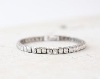 Antique vintage 40s sterling silver deco princess cut CZ tennis bracelet