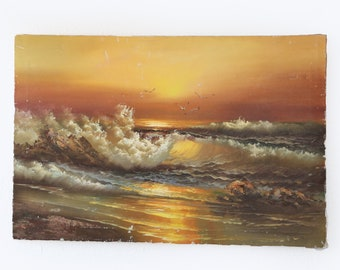 "Vintage Mid century modern Ocean seascape wave oil painting signed Andrews | 36"" x 24"""