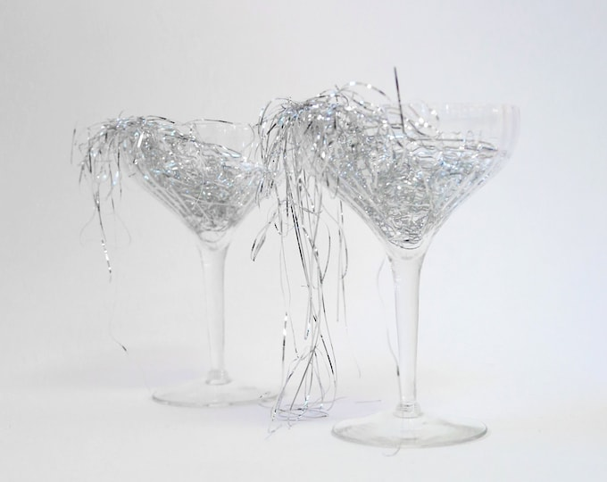 Vintage 50s ribbed clear glass champagne glasses set of 2