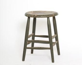 Vintage wood stool | Antique vintage painted country primitive farm milk stool