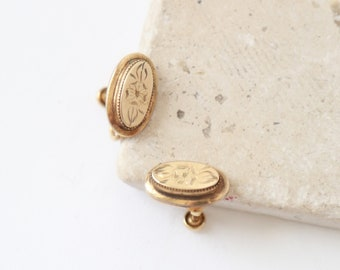 Antique Victorian 12K Gold Filled floral etched Screw Back Oval Earrings