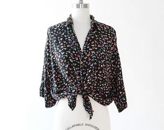 Rainbow confetti tie waist blouse |  Vintage 90s rayon blouse