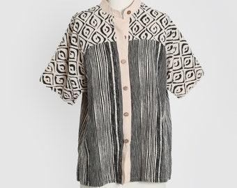 90s ethnic linen cotton block print blouse