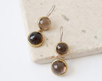 BORA Smoky quartz sterling silver earrings