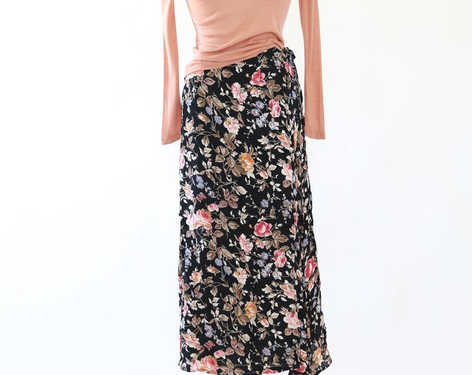 Botanical wrap midi skirt