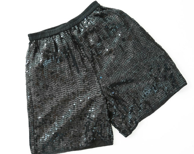 Vintage 80s black sequin shorts | beaded silk draped high waist dress shorts S