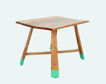Vintage Mid Century Modern Teak side table | Vintage Tiki Heywood Wakefield style End Table | Up-cycled painted teak table