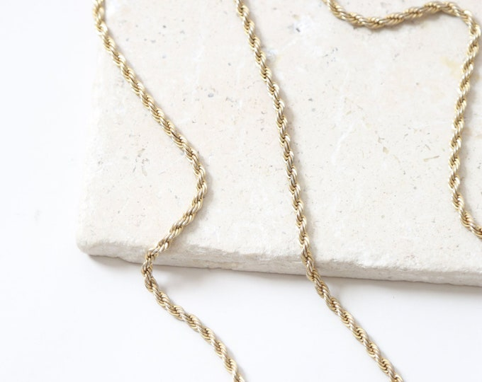Vintage gold plated rope chain 20""