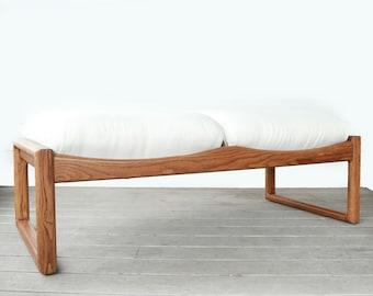 Rare! Lou Hodges bench | Vintage Mid Century Modern solid Oak Lou Hodges bench seat