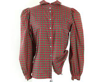 Circus puff sleeve blouse | Vintage 90s Liz Claiborne circus cotton blouse