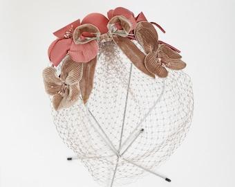 bird cage veil | Vintage 50s Pink velvet bow grey hair net hat hair piece | Flower bow veil