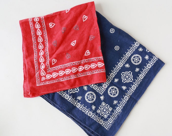 Vintage bandanas | Vintage 60s red + blue Bandana cotton hearts