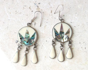 Alpaca Mexico sunburst abalone sterling silver dangle earrings