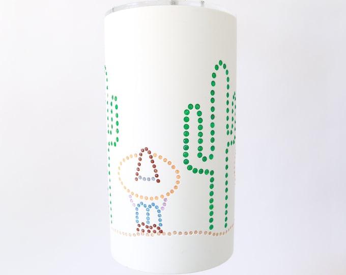 Vintage Mid Century Modern Southwester Mexican Cactus cylinder Pendant ceiling light Fixture chandelier